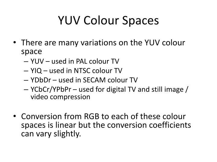 YUV Colour Spaces