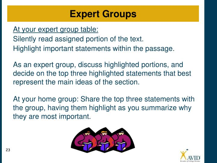 At your expert group table: