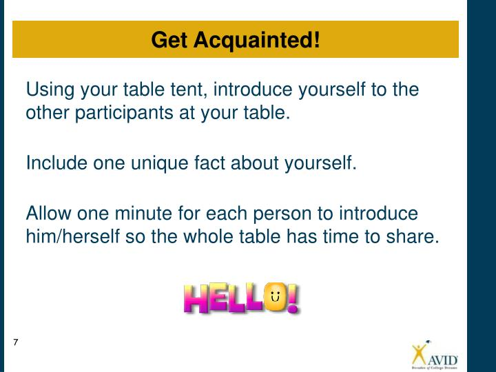 Using your table tent, introduce yourself to the other participants at your table.