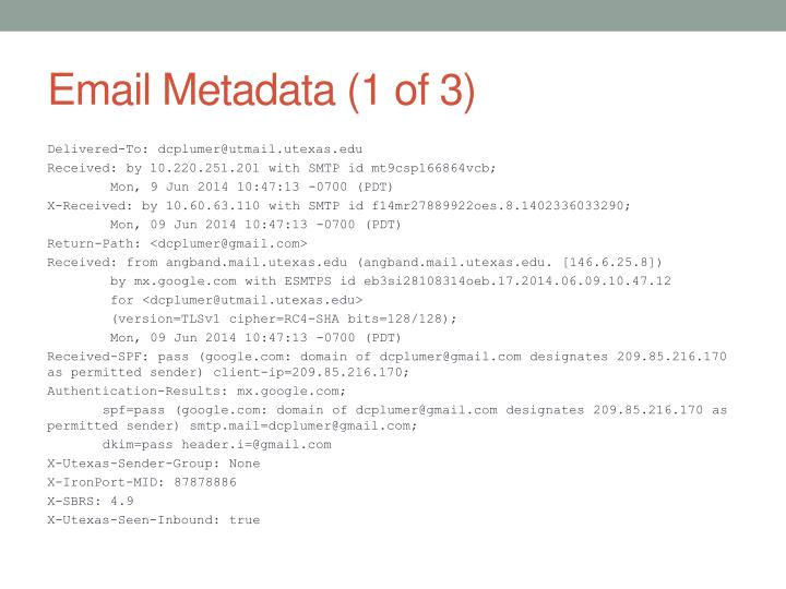 Email Metadata (1 of 3)