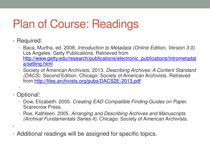 Plan of Course: Readings