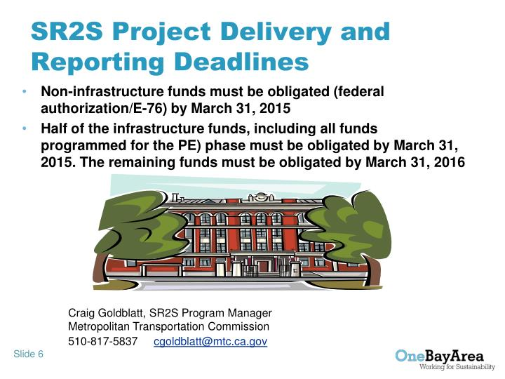 SR2S Project Delivery and Reporting Deadlines