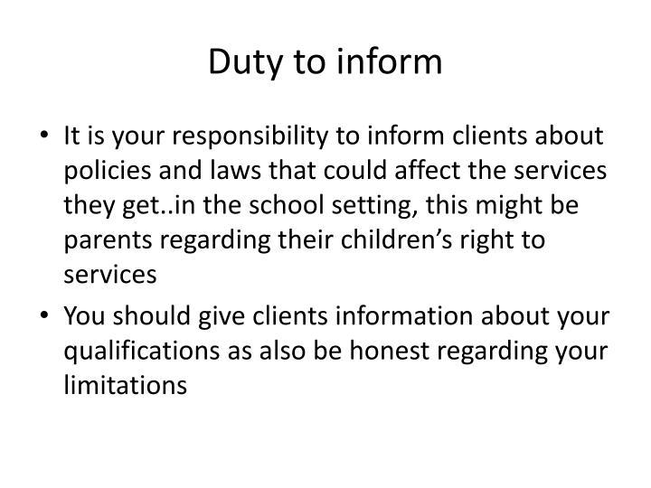 Duty to inform