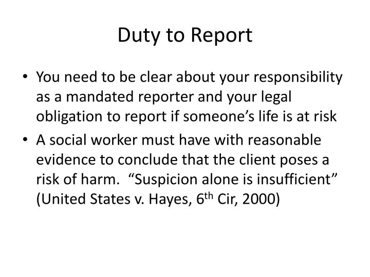 Duty to Report