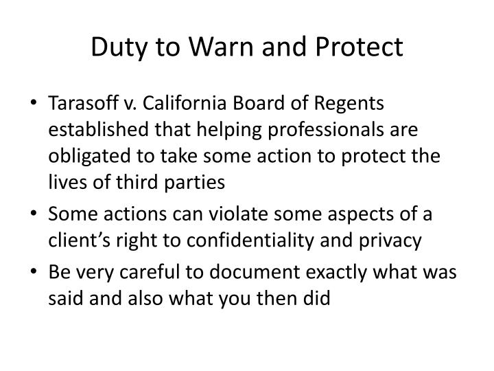 Duty to Warn and Protect
