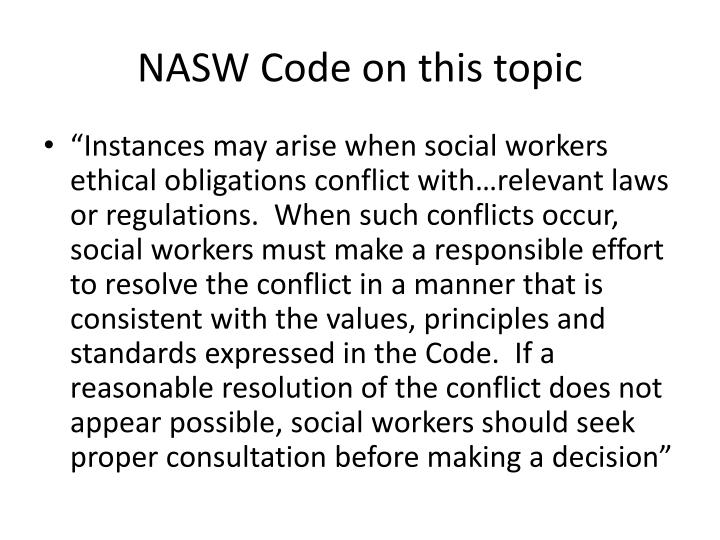 NASW Code on this topic