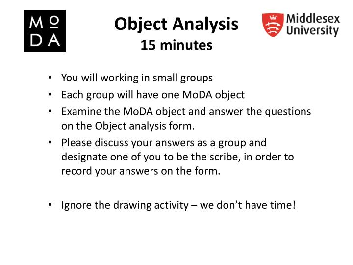 Object analysis 1 5 minutes