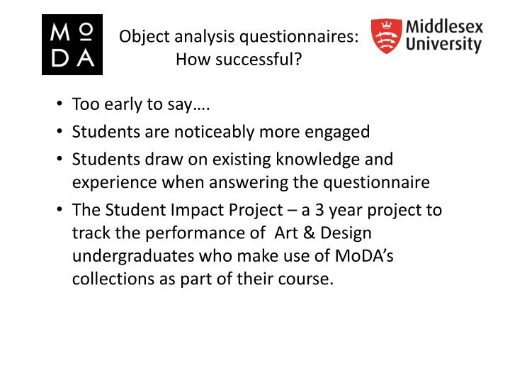 Object analysis questionnaires: