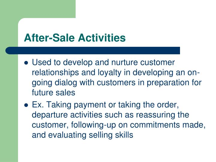 After-Sale Activities