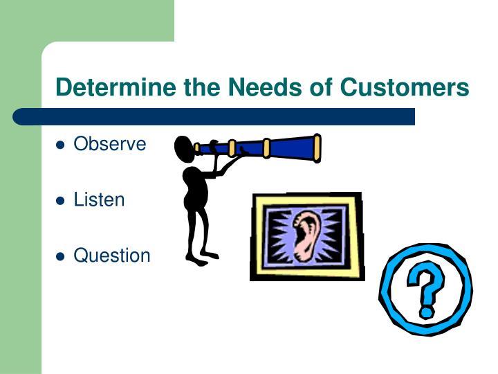 Determine the Needs of Customers