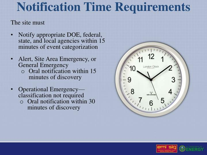 Notification Time Requirements