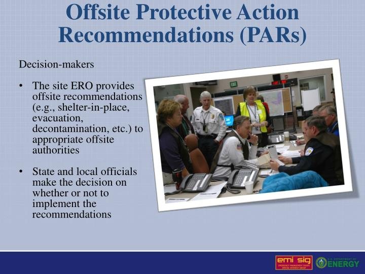Offsite Protective Action Recommendations (PARs)