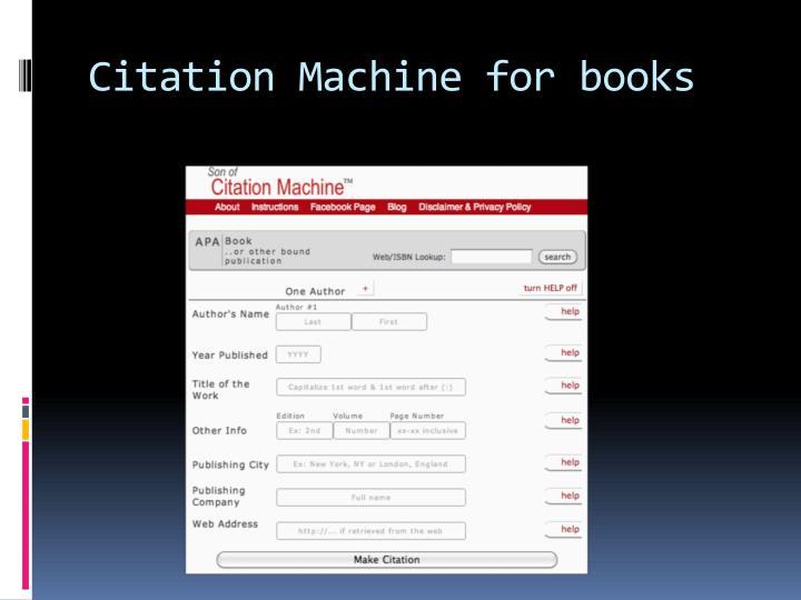 Citation Machine for books