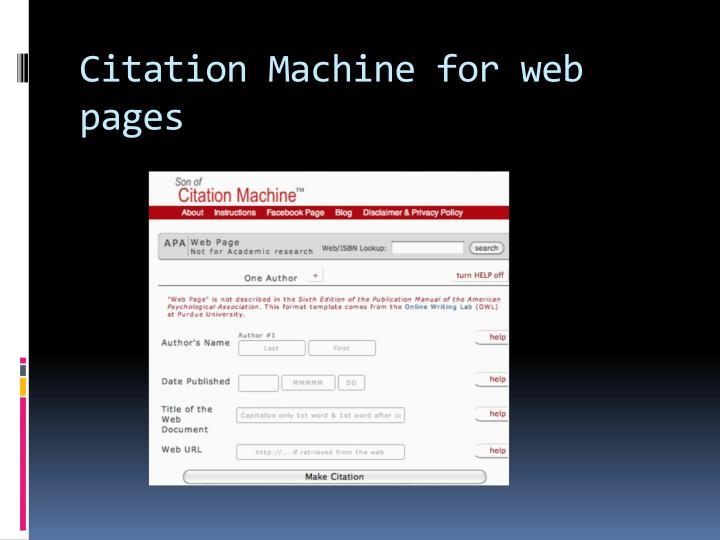 Citation Machine for web pages