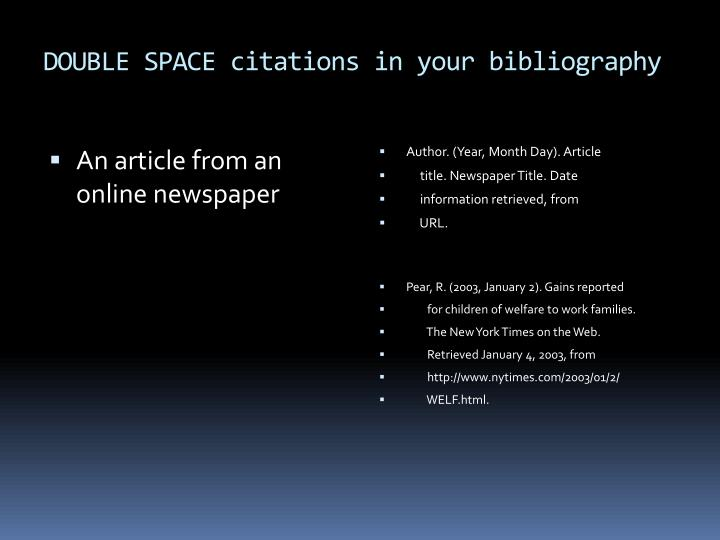 DOUBLE SPACE citations in