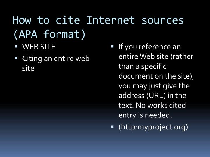 How to cite Internet sources