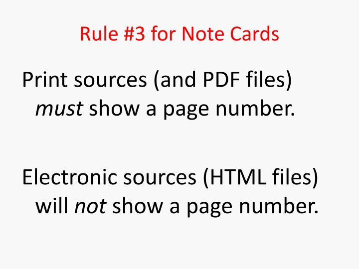 Rule #3 for Note Cards