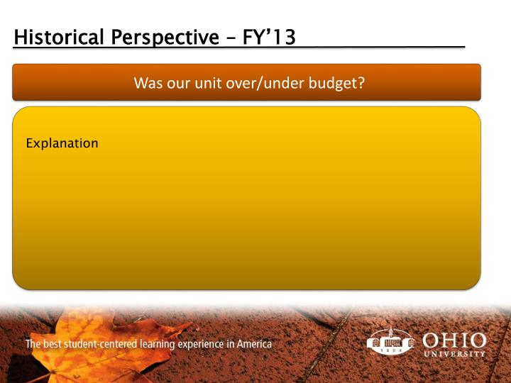 Historical Perspective – FY'13