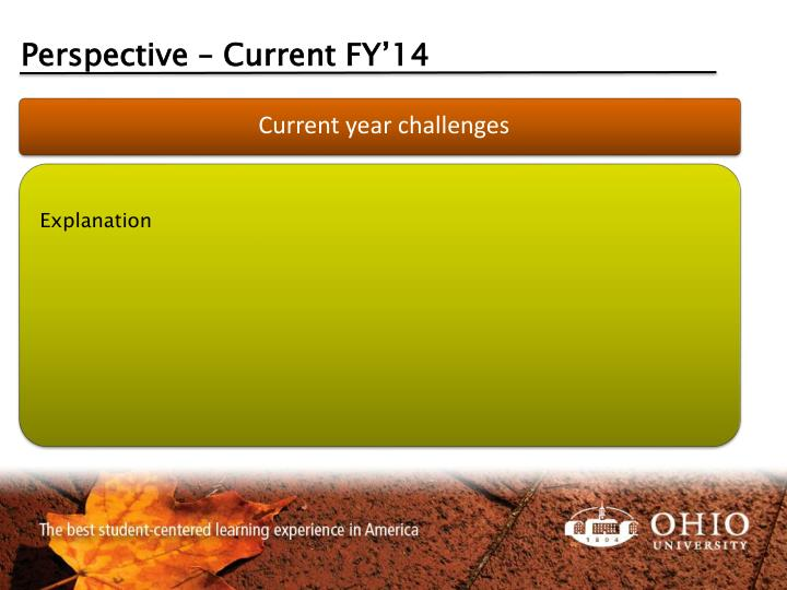 Perspective – Current FY'14