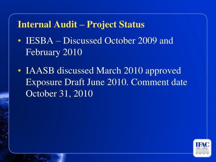Internal Audit – Project Status