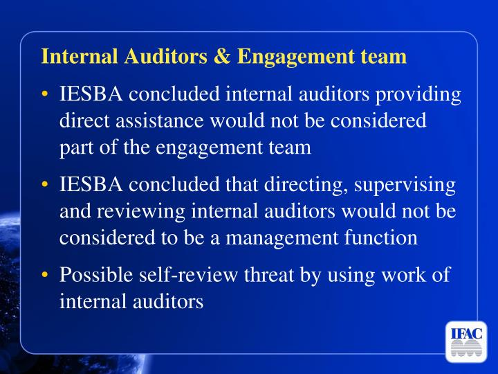 Internal Auditors & Engagement team