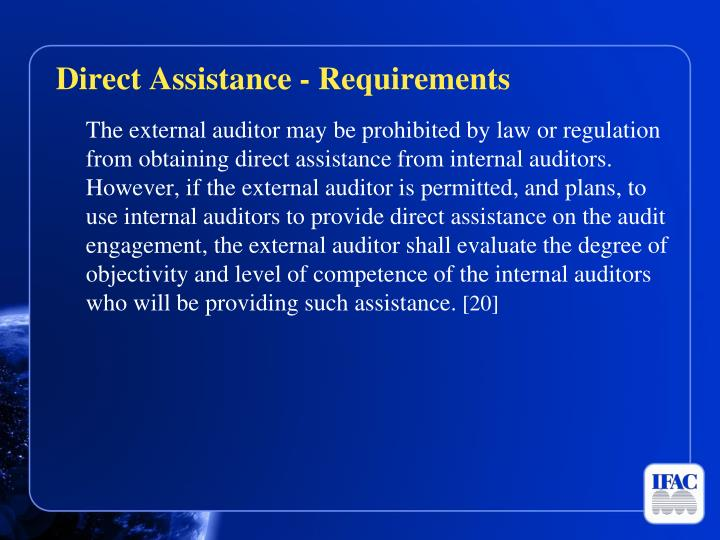 Direct Assistance - Requirements