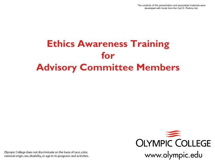 Ethics awareness training for advisory committee members