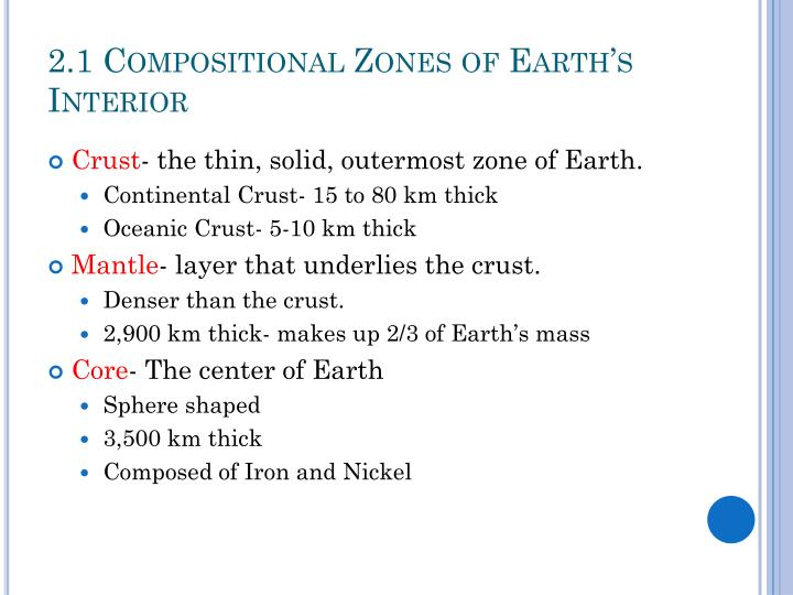 2 1 compositional zones of earth s interior