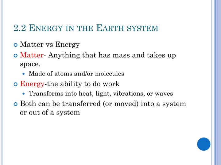 2.2 Energy in the Earth system