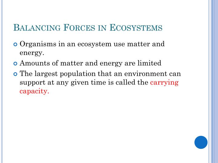 Balancing Forces in Ecosystems