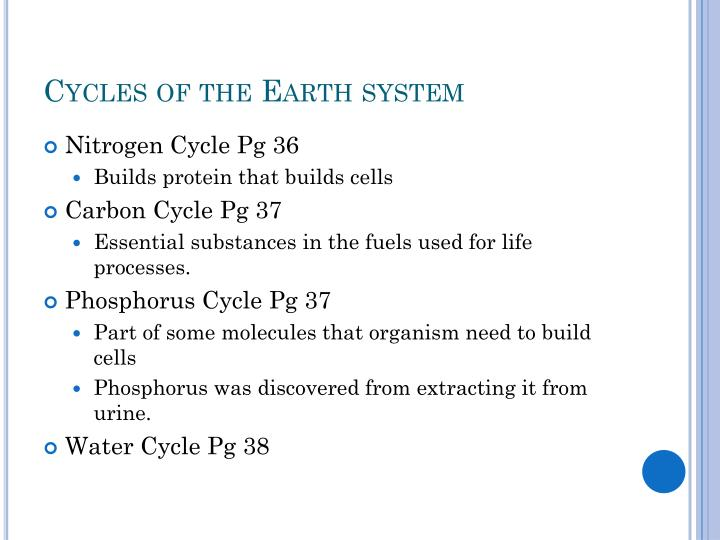 Cycles of the Earth system