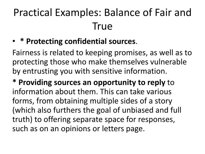 Practical Examples: Balance of Fair and True