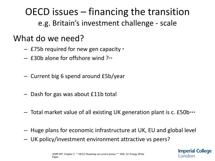 OECD issues – financing the transition