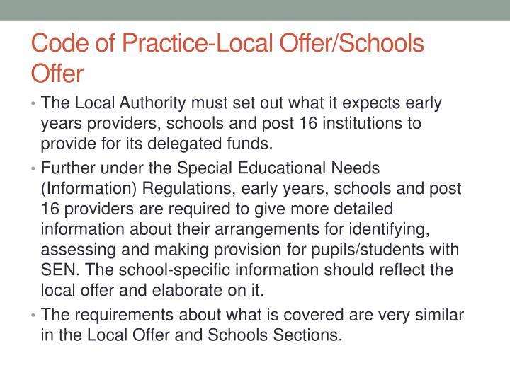 Code of Practice-Local Offer/Schools Offer