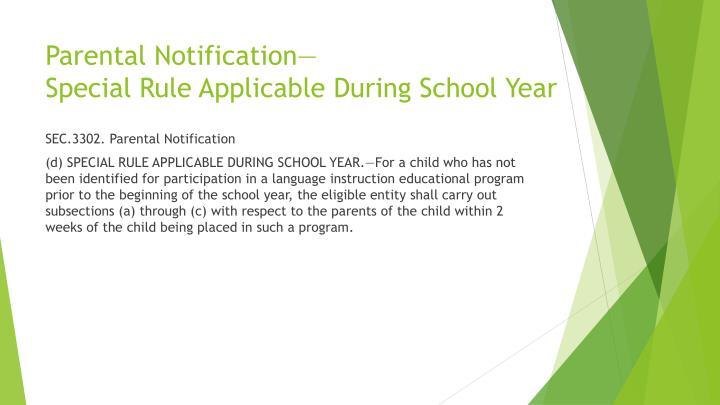 Parental Notification—