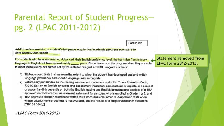 Parental Report of Student Progress—