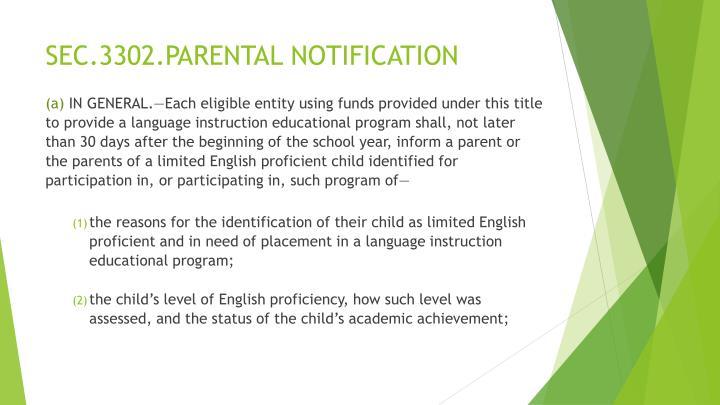 SEC.3302.PARENTAL NOTIFICATION