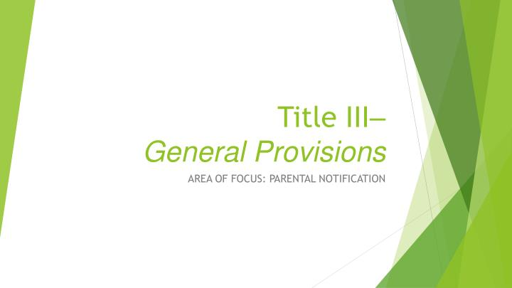 title iii general provisions