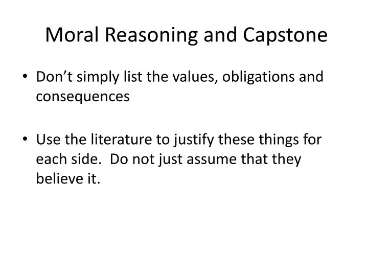 Moral Reasoning and Capstone