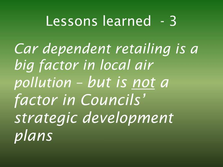 Lessons learned  - 3