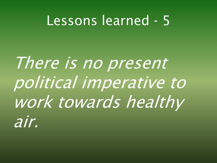 Lessons learned - 5