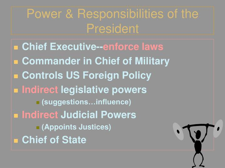 Power & Responsibilities of the President
