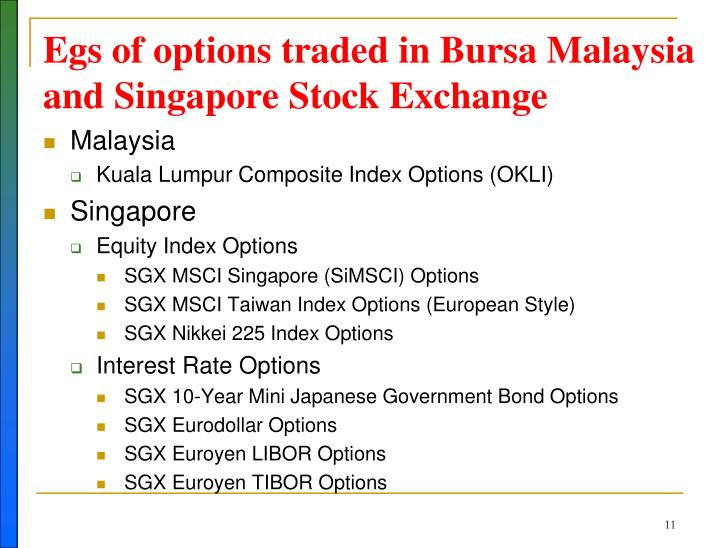 Egs of options traded in Bursa Malaysia and Singapore Stock Exchange