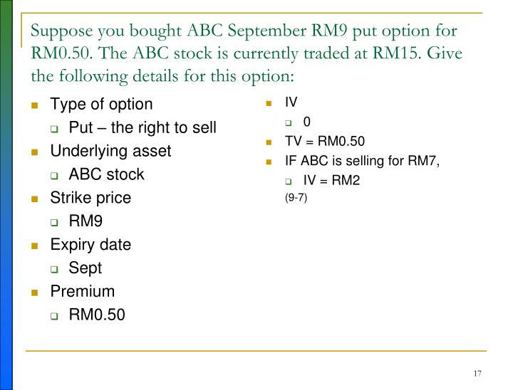Suppose you bought ABC September RM9 put option for RM0.50. The ABC stock is currently traded at RM15. Give the following details for this option: