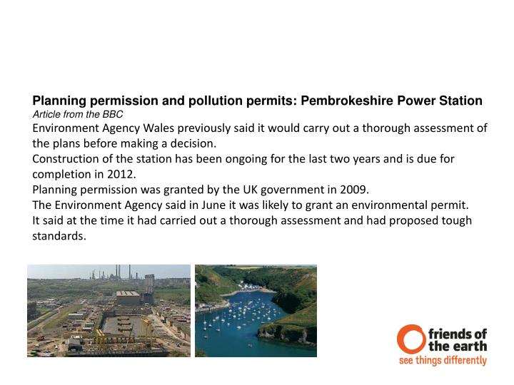 Planning permission and pollution permits: