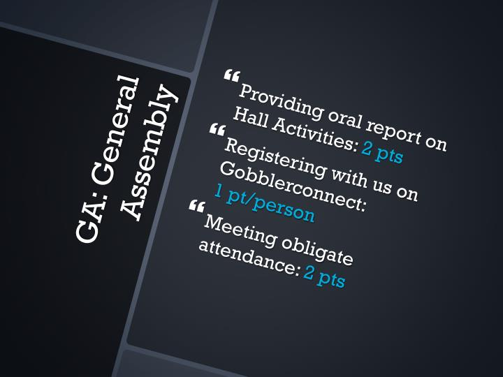 Providing oral report on Hall Activities: