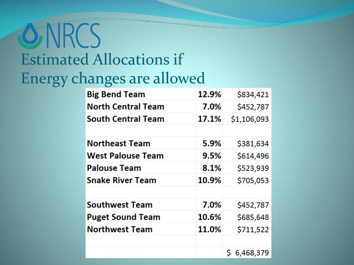 Estimated Allocations if