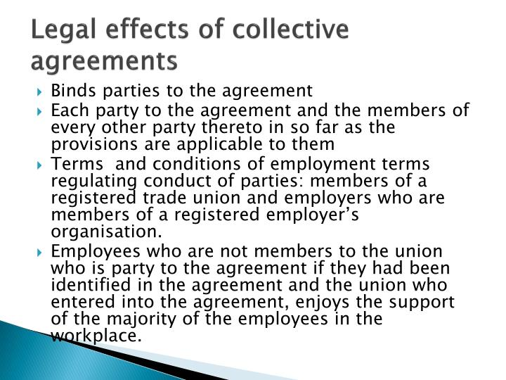 Legal effects of collective agreements