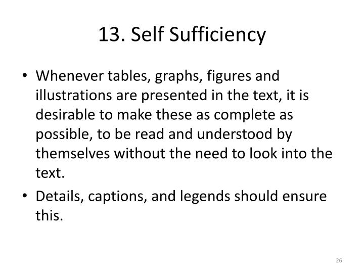 13. Self Sufficiency