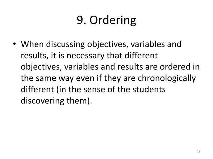 9. Ordering